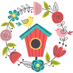 Spring-birdhouse wreath